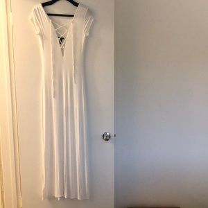 White maxi dress lace-up front with middle slit